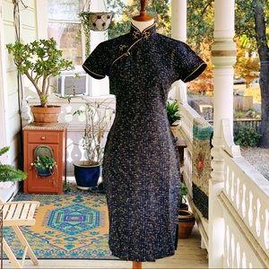 Vintage 50s Atomic Fleck Cheongsam Wiggle Dress